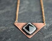 Bragwayn Series - Copper Monolith Triangle Pendant with Black Onyx Pyramid