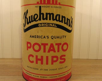 Vintage metal Kuehmanns Potato Chip tin with lid- nice condition and graphics- good condition