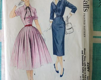 McCall's 3289 dress with slim or full skirt pattern 34 bust detachable collar and cuffs Vintage 1955