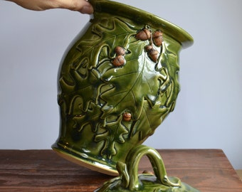 Ceramic cookie jar, handmade covered jar, oak and acorn storage jar, canister kitchen, handmade stoneware by hughes pottery