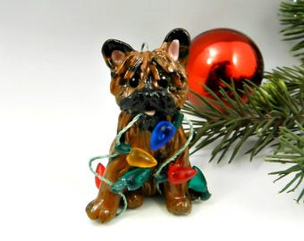 Cairn Terrier Brindle Christmas Ornament Figurine Lights Porcelain