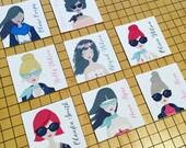Trendsetter Enclosure Gift Tags - Big Sunglasses Enclosure Cards - Cotton Enclosure Cards - Cotton Tags