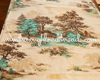Romantic Scenic- Vintage Fabric 60s 70s Historical Barkcloth Texture