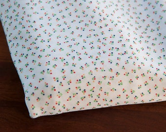 Tiny Flowers - New Old Stock Vintage Fabric 60s 70s Fun Primary Colors on White