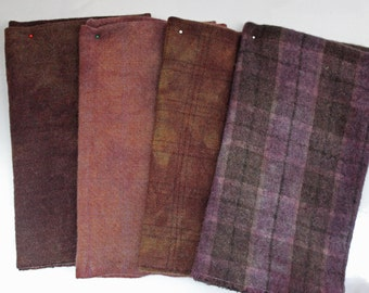 PURPLE/BROWN MIX hand-dyed wool for rug hooking and penny rugs