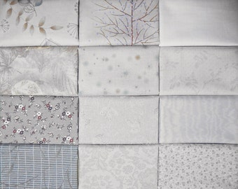 Japanese cotton prints - 12 Diawabo and Lecien gray fat eighths