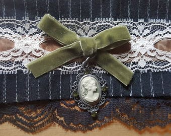 Gothic Lolita Textile Fabric Cuff - UNFINISHED - with Chartreuse Green Velvet Ribbon Bow, Cameo Charm, Vintage Lace, Black Pinstriped Fabric