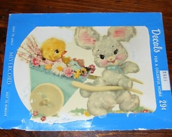 Vintage Meyercord  Decal Water Slide Transfer Plush Bunny Pulling Cart with Baby Chick