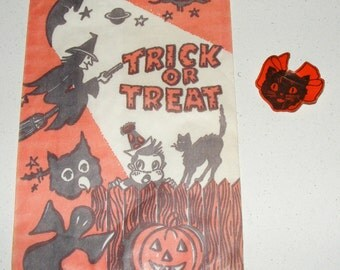 Vintage Halloween Black Cat Witch and Moon Treat Bag and Die Cut Black Cat Seal