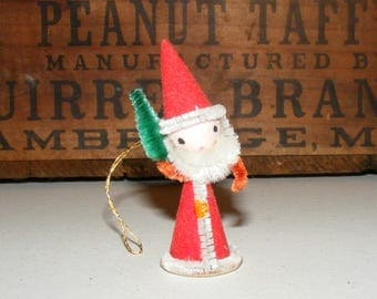 Vintage Spun Cotton Santa Claus with Chenille Trim holding Christmas Tree