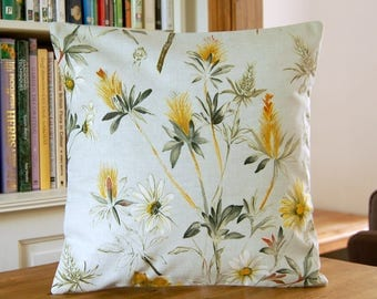 meadow floral flower cushion cover, decorative pillow cover 16 inch / 40 cm