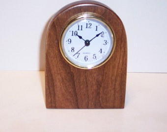 Desk Clock Handcrafted in Cherry Hardwood With a Quartz Movement.