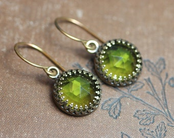 Faceted Green Cabochon Earrings Olive Green Earrings