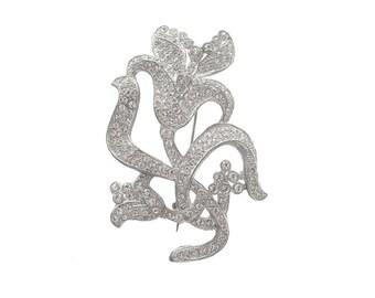 Art Nouveau Vintage Brooch, Antique Rhinestone Floral Pin, 1900s Art Nouveau Jewelry, Statement Wedding Jewelry