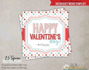 Happy Valentine's Day Gift Card Tag Template, DIY, Colorful Polka Dots - Instant Download