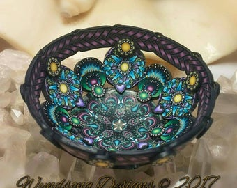 Fairy Peacock Purple Green Blue Jewelry Ring Necklace Mini Altar Bowl Dresser Nightstand Polymer Clay