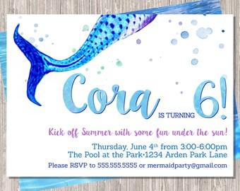 Mermaid Birthday Invitation - Girl Mermaid Tail Birthday Invitation - Watercolor - 5x7 JPG PDF