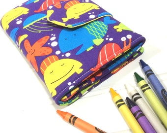 Fish crayon wallet, Sea life toy, Fish wallet, Boys wallet, Kids travel wallet, Kids birthday gift, Activity case, Gift for kids, Crayon toy