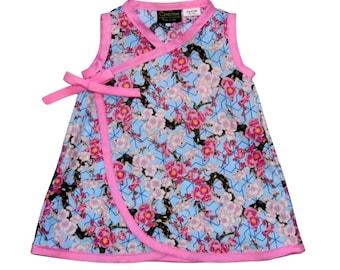 Cherry Blossom Dress -  Pink Girls Dress -  Japanese Clothes - Flower Girl Dress - Blue Dress - Branch-  Girls Dress - Toddler Dress 4t 5t 6