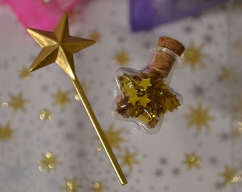 Make a Wish Tiny Wand and Bottle of Tiny Stars in a Gift Bag Party Favor Stocking Stuffer