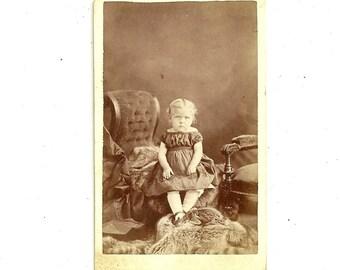 Antique Civil War Era CDV Photo Little Blonde Girl In Off Shoulder Dress Victorian Carte De Visite Photograph