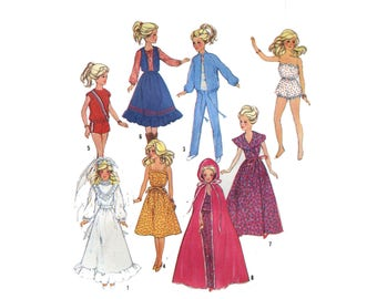 Vintage Barbie Wardrobe Pattern Wedding Gown Sundress Princess Cape Romper Fashion Doll Clothes Boho 1980s Simplicity 6363 Sewing Pattern