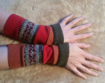 Reds and browns striped armwarmers fingerless gloves