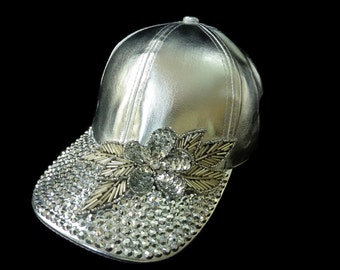 "Women's Baseball Hat, Jeweled Baseball Cap, Golf Visor, Mother's Day Golf Gift, Baseball Cap in Silver Leather and Sparkle - ""Leading Lady"""