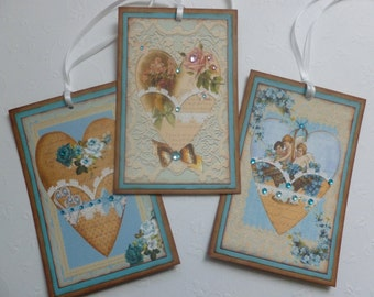 Heart gift tags vintage style teal hearts roses flowers lacy frames sparkly vintage inspired - set of 3