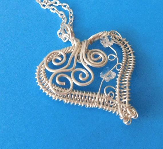 Heart Necklace Girlfriend Gift, Heart Jewelry Gift for Wife, Wire Wrapped Heart Necklace Gift, Unique Heart Necklace Gift for Her