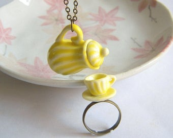 Teapot Necklace, Tea Cup Ring, Miniature Ceramic Jewelry Set, Classic Yellow