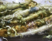 Handspun Tailspun Corespun BFL Wool Art Yarn in Gold and Green Corkscrew Curls with Sparkle by KnoxFarmFiber for Knit Weave Embellishment