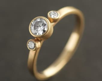 MODERN ENGAGEMENT // Triple Diamond // Recycled Diamonds & Gold // VK Designs in Portland, Oregon