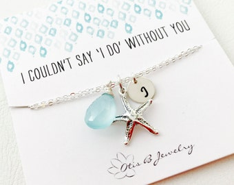PERSONALIZED ANKLET with starfish charm, Bridesmaid gift, Aqua jewelry, Initial & Birthstone, ankle bracelet, Otis B, etsy, Bridesmaid gift