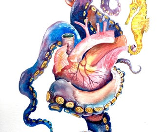 Anatomical Heart Painting, Giclee Print, Gift for Him, Pirate Painting, Octopus Tentacle Art, Watercolor Painting, Home Decor