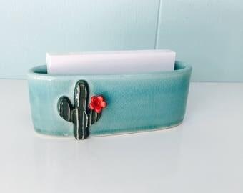 cactus business card holder, porcelain