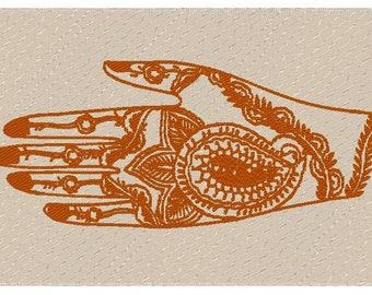 To Awaken Inner Light Mendhika Mehndi Hand Henna Inked Designs On Natural Linen Embroidered 11x6 Inch Pillow  Hindu Body Art