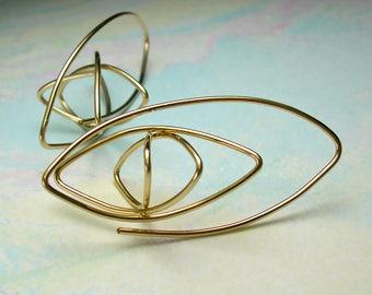 Gold Elliptical Hoop Earrings, 14K Gold-Filled Elliptical Hoops, Large Original Abstract Geometric Ear Sculptures, Modern Hoop Design