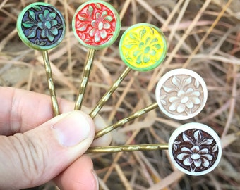 lotus flower hair bobbies vintage cabochon bobby pins gift stocking stuffer handmade gift holiday hair accessory