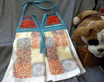 Hanging Printed Kitchen Terry Tie Towels, Southwestern Blanket Stripes Print Top