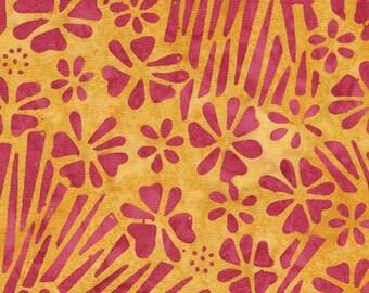 211637 yellow orange batik hot pink flower fabric by Timeless Treasures