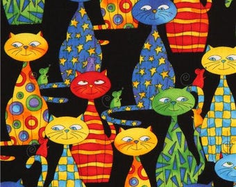 172084 black cartoon cats fabric by Timeless Treasures USA