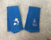 BLUE  Terry Cloth Hand Towel with machine embroidered MERMAID or SEAHORSE