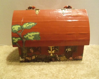 Vintage Wooden  Red Barn Decoupage Farm Handbag Purse