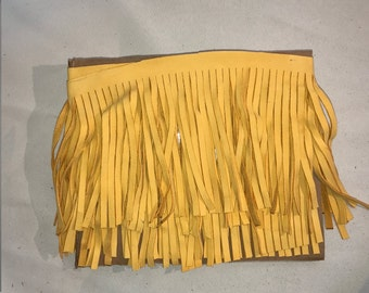 bright yellow Leather Fringe for embellishment of purses , jackets or other accessories, sold by ft (30 cm) - C1027/18