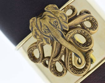Steampunk elephant and otocus cuff bracelet on brass cuff, sold by each