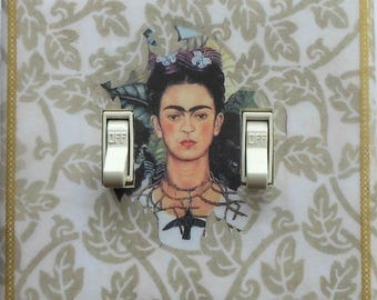 NEW Frida designs with MATCHING SCREWS- Frida altered art Frida shrine Frida art print Frida light switch covers Frida wall art decorations