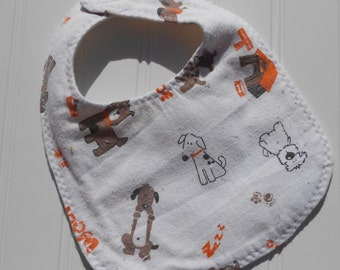 READY TO SHIP 100% cotton flannel baby bib - dog / doggie print
