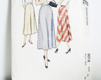 Vintage 1950s Simplicity 8018 Sewing Pattern / 50s skirt / waist 28 1950s fashion pattern