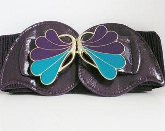 vintage 1970s 80s purple green enamel leaf buckle belt/ elastic stretch waist belt